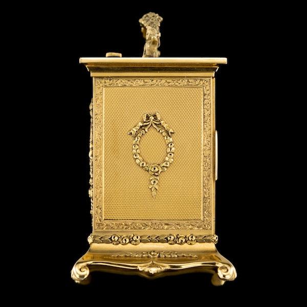ANTIQUE 20thC 18K GOLD QUARTER REPEATING CARRIAGE CLOCK, LONDON c.1924 - image 3
