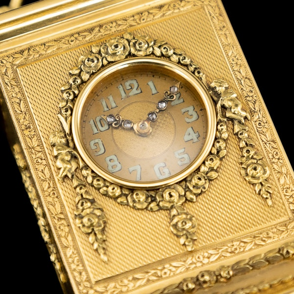 ANTIQUE 20thC 18K GOLD QUARTER REPEATING CARRIAGE CLOCK, LONDON c.1924 - image 12