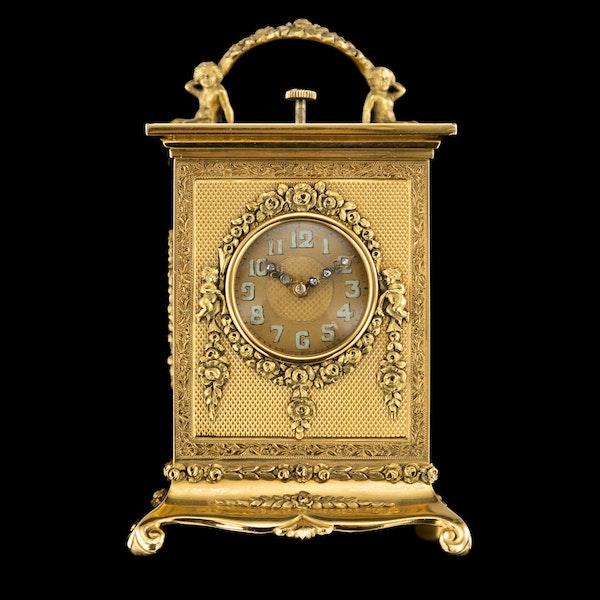 ANTIQUE 20thC 18K GOLD QUARTER REPEATING CARRIAGE CLOCK, LONDON c.1924 - image 2