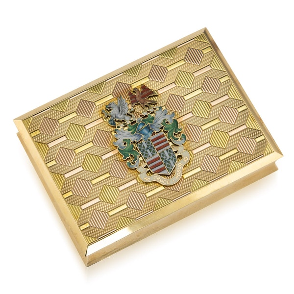 STUNNING 20thC ENGLISH PRESENTATION 18k SOLID GOLD & ENAMEL SNUFF BOX c.1958 - image 1