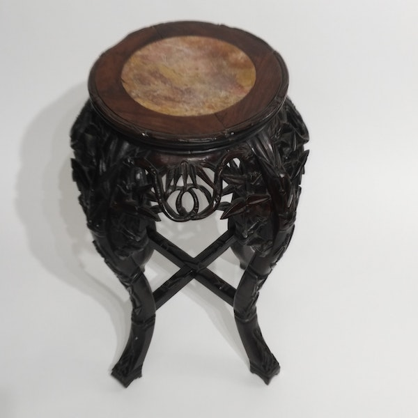 Chinese marble top round wood stand - image 2