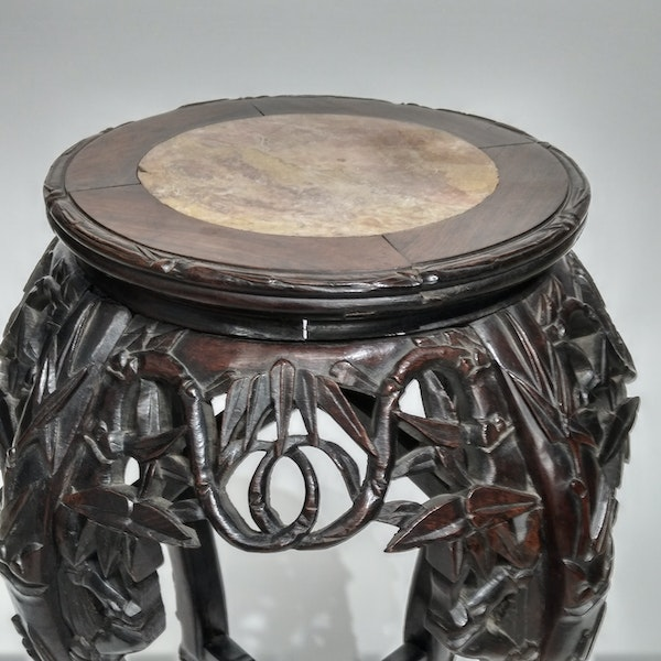 Chinese marble top round wood stand - image 3