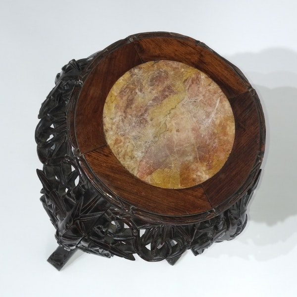Chinese marble top round wood stand - image 4