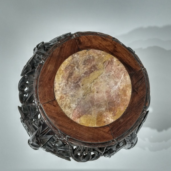 Chinese marble top round wood stand - image 5
