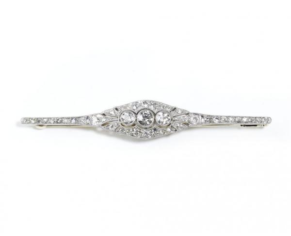 Art Deco Diamond Bar Brooch - image 1
