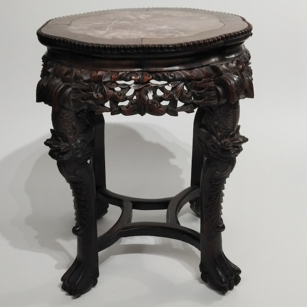 Chinese marble topped wood stand - image 3