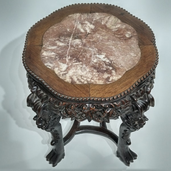 Chinese marble topped wood stand - image 4