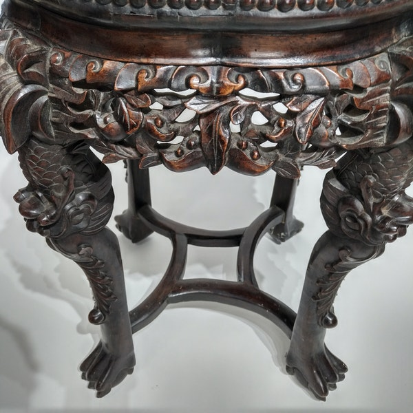 Chinese marble topped wood stand - image 5