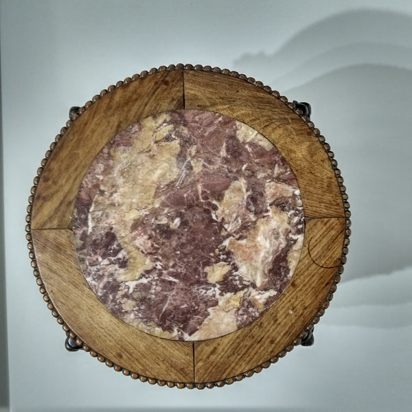 Chinese marble topped wood stand with prunus blossom carving - image 3