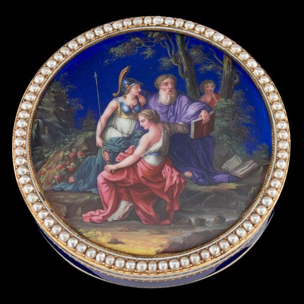ANTIQUE 18thC SWISS 18k GOLD & ENAMEL SNUFF BOX, GUIDON, REMOND & GIDE c.1790 - image 2