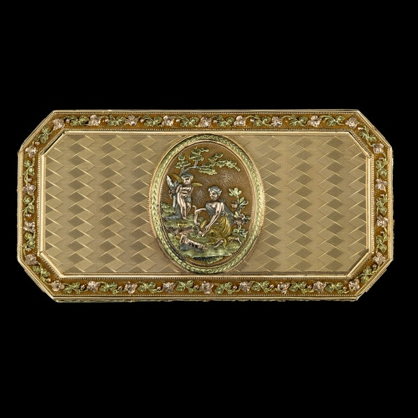 ANTIQUE 19thC SWISS 18k THREE-COLOUR GOLD SNUFF BOX, GENEVA c.1800 - image 2