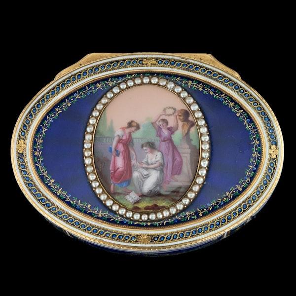 ANTIQUE 18thC FRENCH 18k GOLD & ENAMEL SNUFF BOX, PARIS c.1784 - image 2