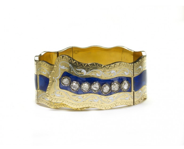 Victorian Enamel And Gold Bangle - image 1
