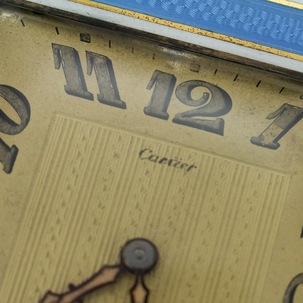 ELEGANT 20thC CARTIER SILVER PLATED & ENAMEL DESK CLOCK c.1945 - image 5