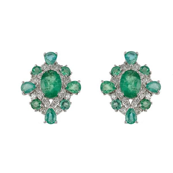 Cross emerald earrings - image 2