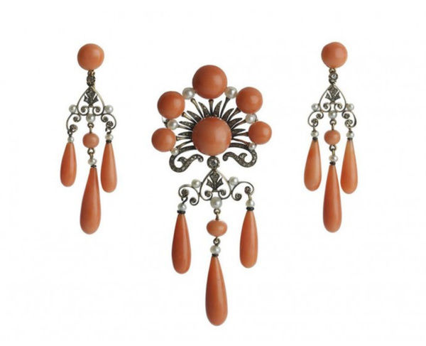 French Coral, Pearl And Diamond Earrings And Brooch Suite - image 1