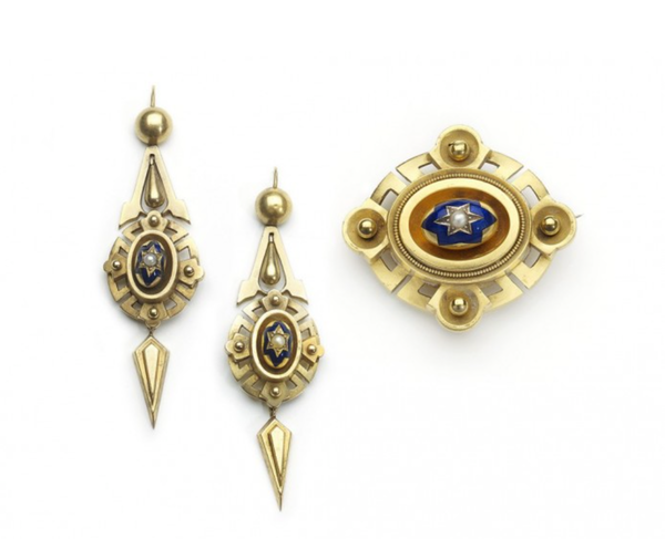 Victorian Gold Enamel And Pearl Earrings And Brooch Suite, Circa 1875 - image 1