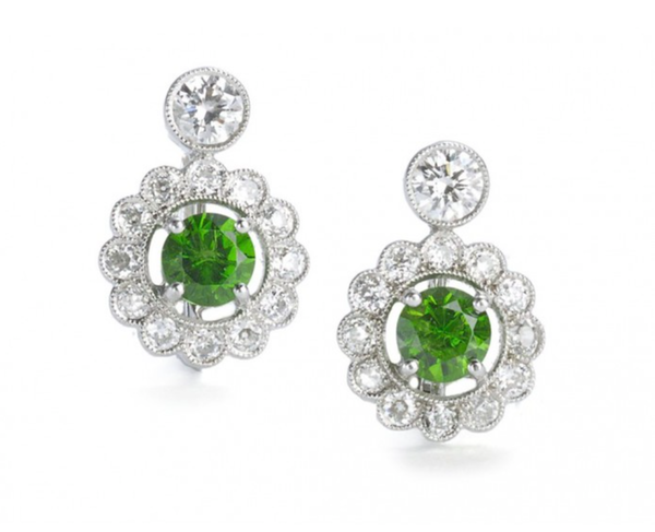 Demantoid Garnet And Diamond Earrings - image 1