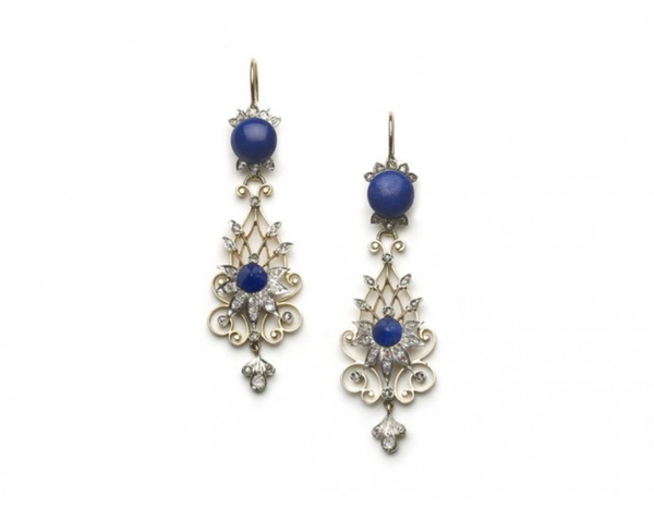 New ProductVictorian Lapis Lazuli And Diamond Filigree Drop Earrings - image 1