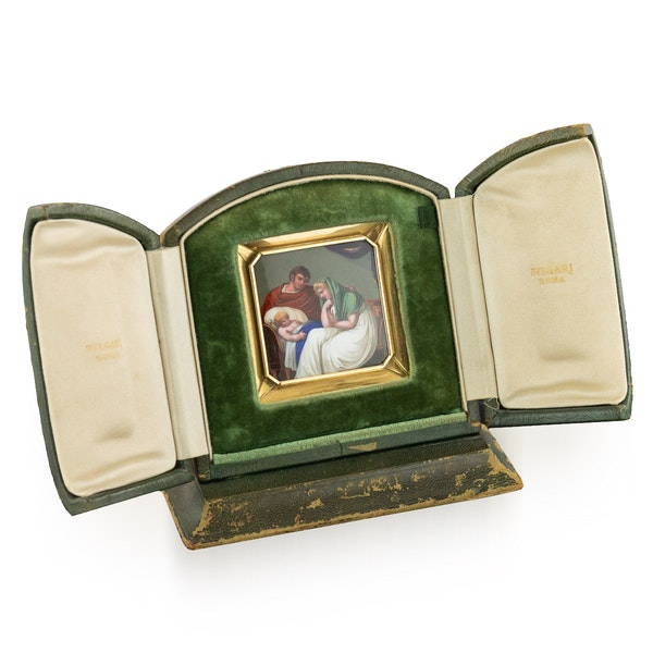 ANTIQUE 19thC SWISS 18K GOLD & ENAMEL PLAQUE ICON, RETAILED BY BULGARI c.1820 - image 1