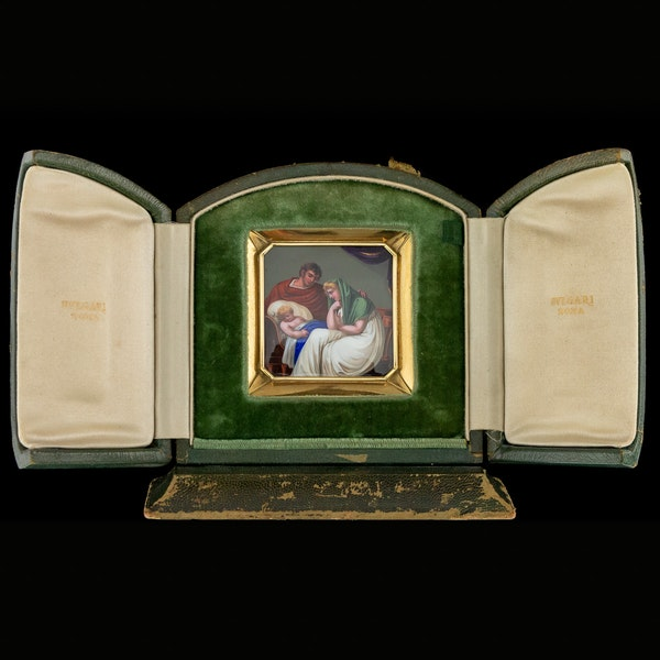 ANTIQUE 19thC SWISS 18K GOLD & ENAMEL PLAQUE ICON, RETAILED BY BULGARI c.1820 - image 2