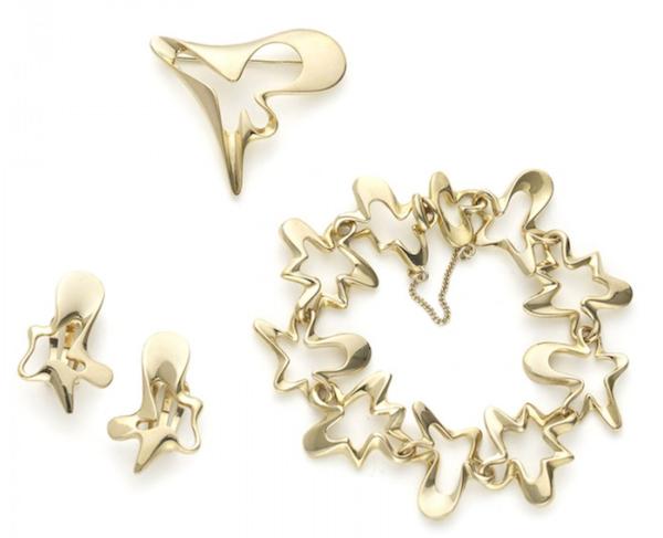 Georg Jensen Gold Bracelet, Brooch And Earrings Suite By Henning Koppel - image 1