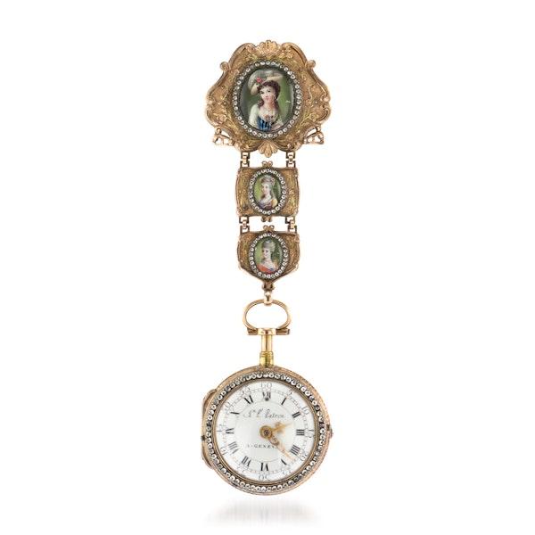 ANTIQUE 18thC SWISS 18K GOLD & ENAMEL, DIAMOND OPEN-FACED VERGE WATCH c.1770 - image 2