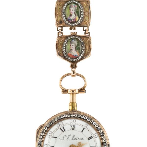ANTIQUE 18thC SWISS 18K GOLD & ENAMEL, DIAMOND OPEN-FACED VERGE WATCH c.1770 - image 5