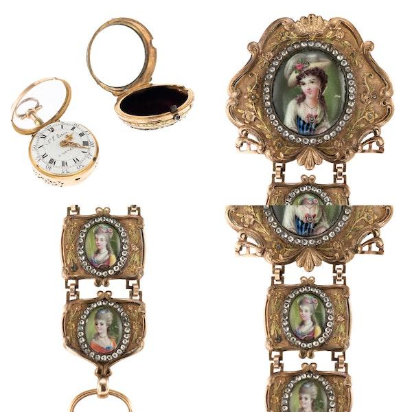 ANTIQUE 18thC SWISS 18K GOLD & ENAMEL, DIAMOND OPEN-FACED VERGE WATCH c.1770 - image 6