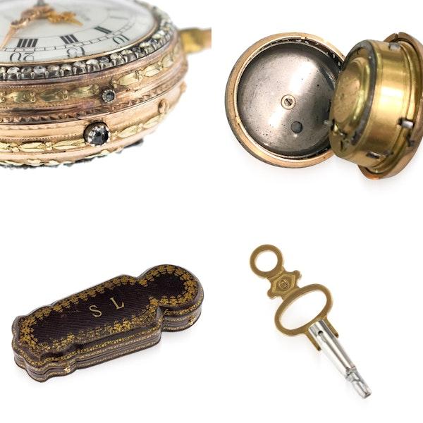 ANTIQUE 18thC SWISS 18K GOLD & ENAMEL, DIAMOND OPEN-FACED VERGE WATCH c.1770 - image 9