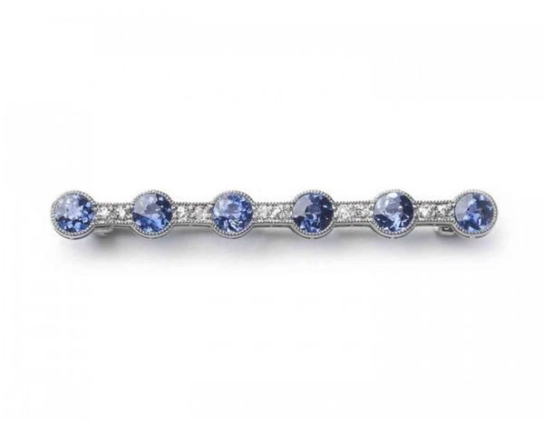 Montana Sapphire, Diamond And Platinum Bar Brooch, Circa 1910 - image 1