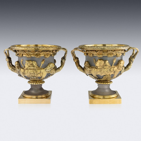 ANTIQUE 19thC GEORGIAN SOLID SILVER-GILT WARWICK WINE COOLERS, LONDON c.1820 - image 4