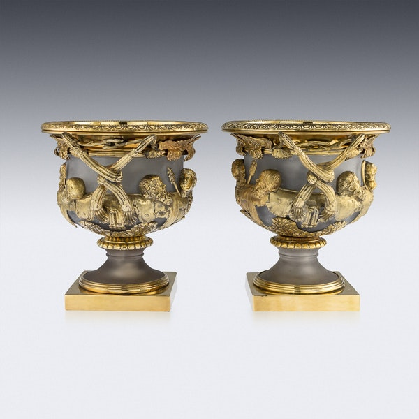 ANTIQUE 19thC GEORGIAN SOLID SILVER-GILT WARWICK WINE COOLERS, LONDON c.1820 - image 5