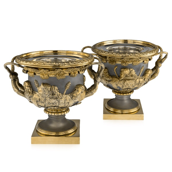ANTIQUE 19thC GEORGIAN SOLID SILVER-GILT WARWICK WINE COOLERS, LONDON c.1820 - image 1