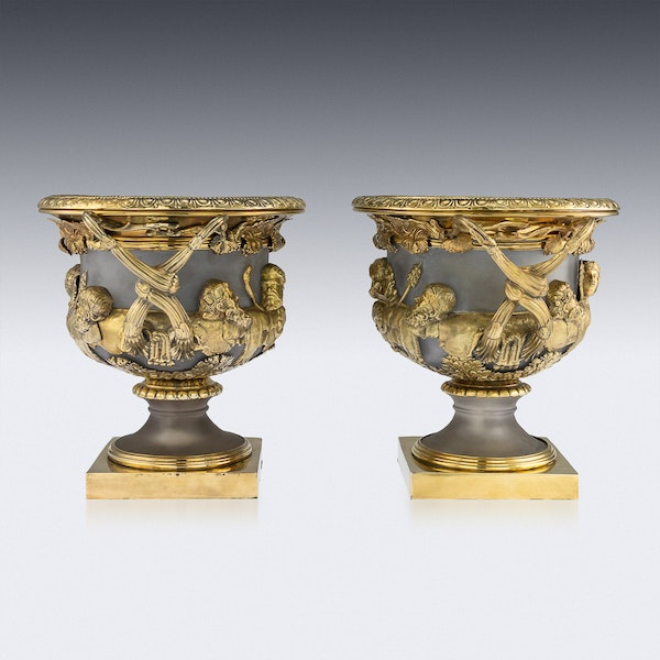 ANTIQUE 19thC GEORGIAN SOLID SILVER-GILT WARWICK WINE COOLERS, LONDON c.1820 - image 3