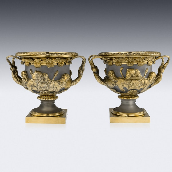 ANTIQUE 19thC GEORGIAN SOLID SILVER-GILT WARWICK WINE COOLERS, LONDON c.1820 - image 2
