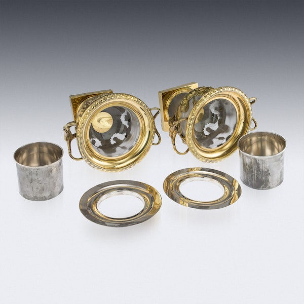 ANTIQUE 19thC GEORGIAN SOLID SILVER-GILT WARWICK WINE COOLERS, LONDON c.1820 - image 6