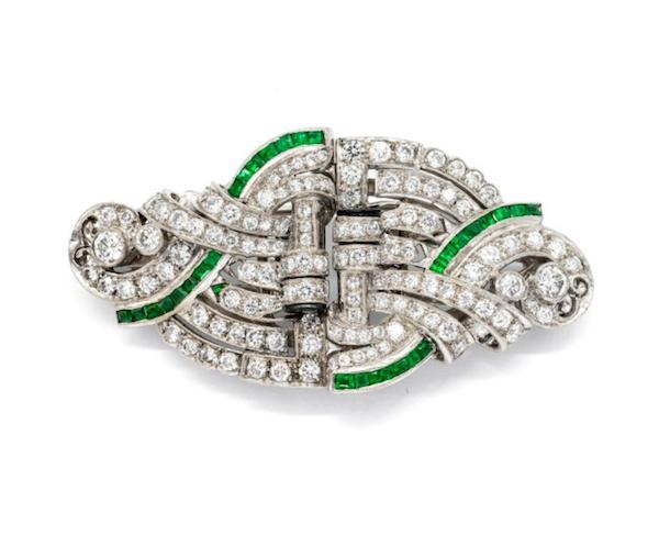 Art Deco Emerald And Diamond Double Clip Brooch, Circa 1935 - image 1