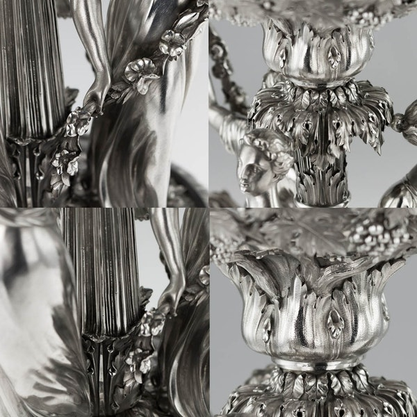 ANTIQUE 19thC GEORGIAN SOLID SILVER FIGURAL CENTERPIECE, BENJAMIN SMITH c.1822 - image 9