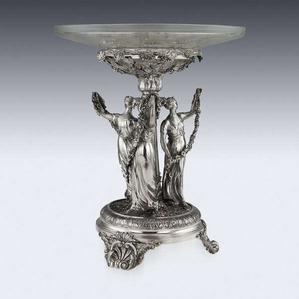 ANTIQUE 19thC GEORGIAN SOLID SILVER FIGURAL CENTERPIECE, BENJAMIN SMITH c.1822 - image 2