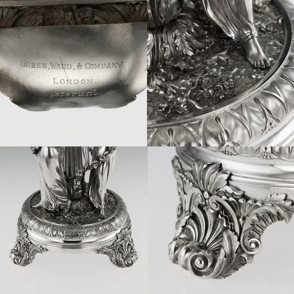 ANTIQUE 19thC GEORGIAN SOLID SILVER FIGURAL CENTERPIECE, BENJAMIN SMITH c.1822 - image 10