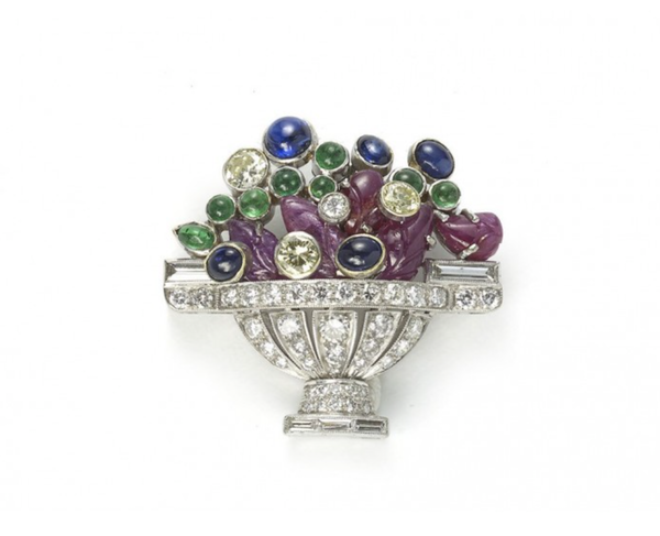 Diamond And Gem-Set Jardiniére Brooch - image 1