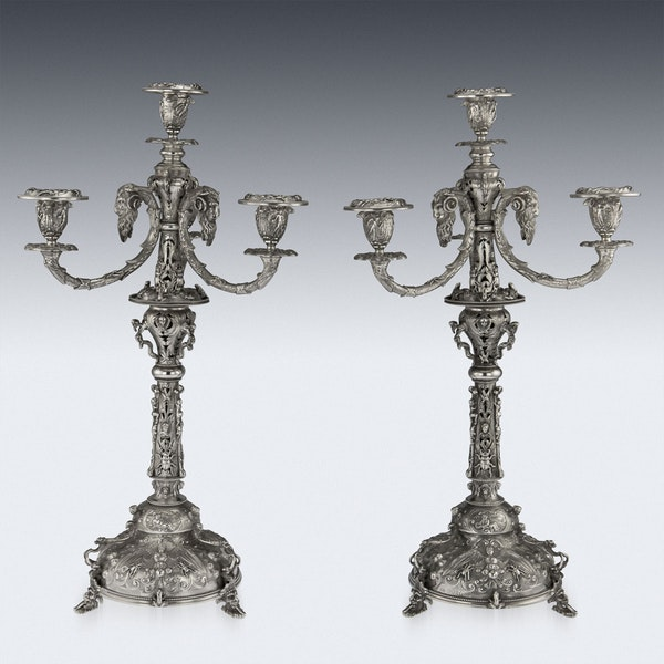 ANTIQUE 19thC VICTORIAN SOLID SILVER SET OF FOUR CANDELABRA, MACRAE c.1872-73 - image 10