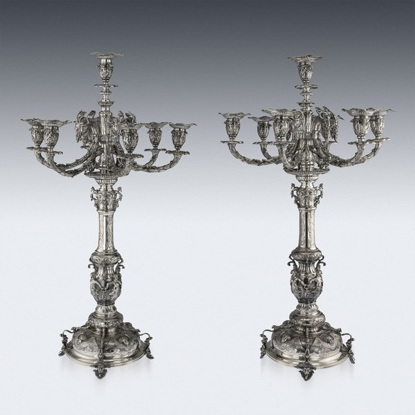 ANTIQUE 19thC VICTORIAN SOLID SILVER SET OF FOUR CANDELABRA, MACRAE c.1872-73 - image 5