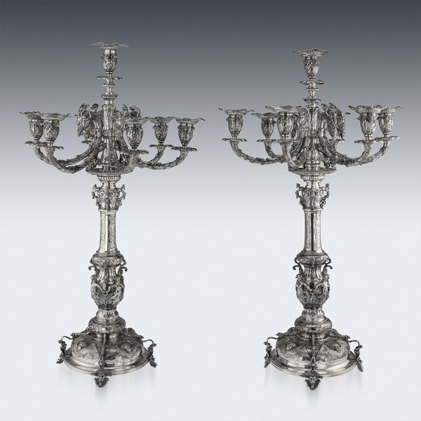 ANTIQUE 19thC VICTORIAN SOLID SILVER SET OF FOUR CANDELABRA, MACRAE c.1872-73 - image 4