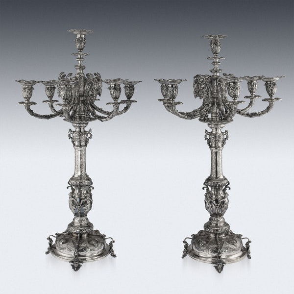 ANTIQUE 19thC VICTORIAN SOLID SILVER SET OF FOUR CANDELABRA, MACRAE c.1872-73 - image 3