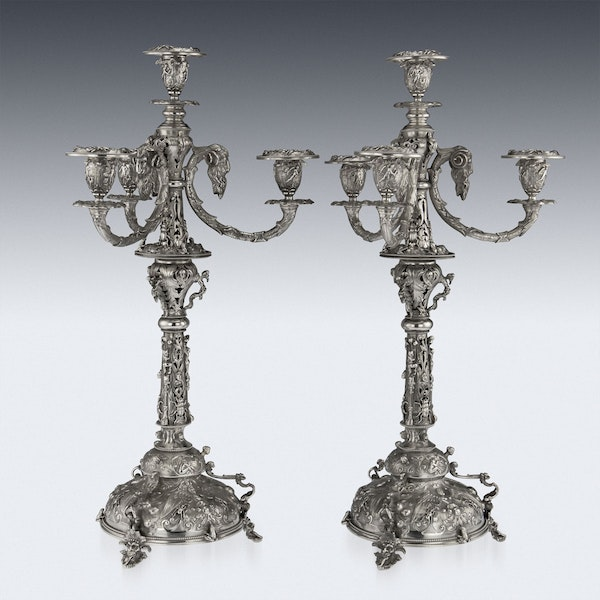 ANTIQUE 19thC VICTORIAN SOLID SILVER SET OF FOUR CANDELABRA, MACRAE c.1872-73 - image 11