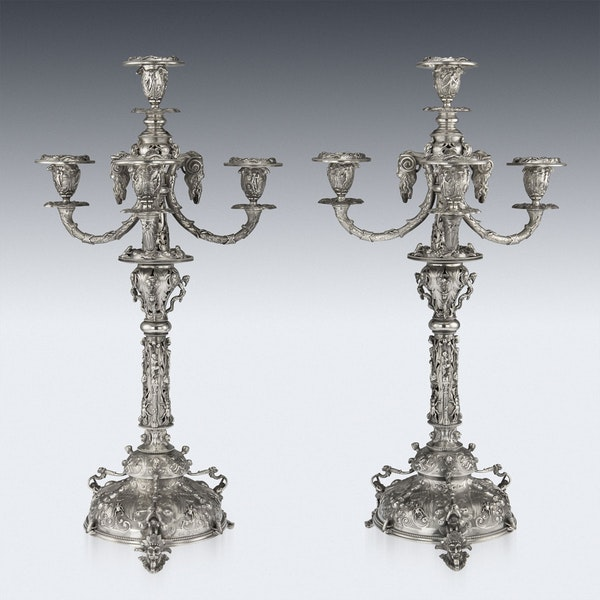 ANTIQUE 19thC VICTORIAN SOLID SILVER SET OF FOUR CANDELABRA, MACRAE c.1872-73 - image 8