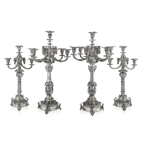 ANTIQUE 19thC VICTORIAN SOLID SILVER SET OF FOUR CANDELABRA, MACRAE c.1872-73 - image 1