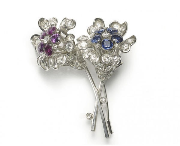Sapphire, Diamond And Ruby Flower Brooch - image 1